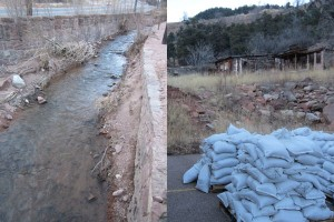 Creek and Sandbags stacked in Manitou Springs
