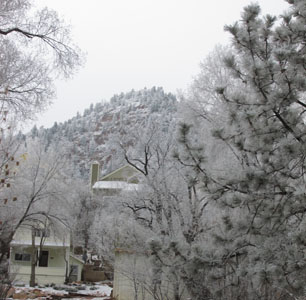 Frosty Red Mountain in Manitou Springs