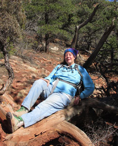 Julia Resting on Cedar Tree in Garden of the Gods