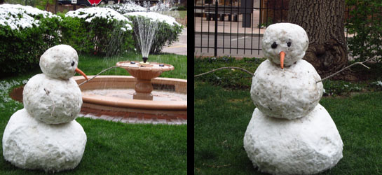 Mother's Day Snowman in Manitou Springs