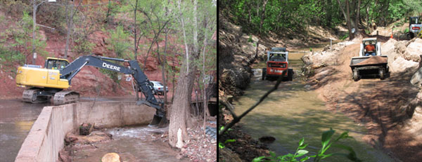 Dredging Fountain Creek in Manitou Springs