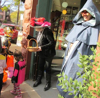 Arlene & Kathy handing out treats