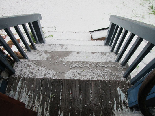 Hail on the stairs May 9, 2015